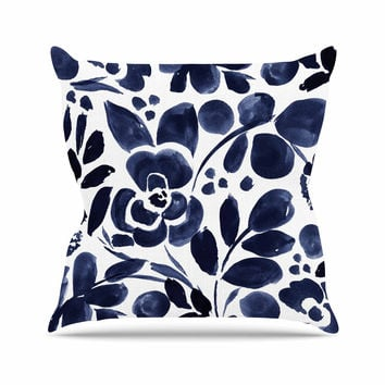 "Crystal Walen ""Watercolor Floral"" - Navy Painting Outdoor Throw Pillow"