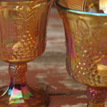 Vintage Pair of Two (2) Fall Wine Glasses, Indiana Carnival Glass in Harvest Gold, Wine Goblets - Fall Wedding Decor