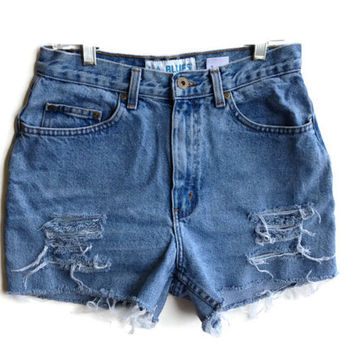 High Waisted Denim Shorts Ripped Jean Shorts