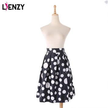 2016 Spring One Piece Elegant Women Skirt Casual Knee Lenght High Waist A Line black White Polka Dot Midi Skirts Female Clothes