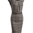Womens Fitted Plaid Midi Dress with Faux Leather Belt