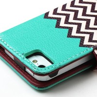ULAK [Stand Feature] Synthetic Leather [Wallet] Unique Waves Premium Wallet Case STAND Flip Cover for iPhone 5 / 5s (Follow the sky)