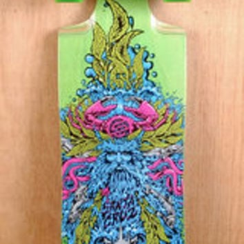 "Santa Cruz Prebuilt 37"" Sea God Green Cruz Control Longboard Complete"