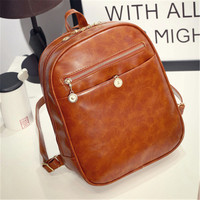 2016 New vintage leather school bag hot sale women small shoulder bags luxury kids fashion candy backpacks 10 colors