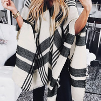 Black and White Plaid Blanket Shawl – Lookbook Store