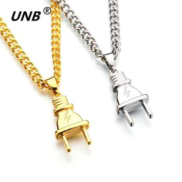 UNB New Gold-color Electrical Plug Shape Pendants Necklaces Men Women Hip Hop Charm Chains Iced Out Bling Jewelry Gifts