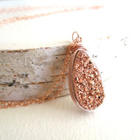 Rosegold druzy drop necklace gold druzy jewelry Gift for her Under 55 Vitrine Designs