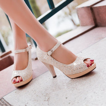 Platform Sandals Ankle Straps Lace Women Pumps High Heels Shoes Woman 3549