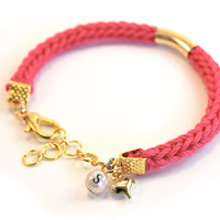 Initial Bracelet, Personalized Pink Knit Bracelet with Gold Tube and Heart Charm