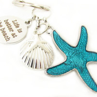 Starfish Keychain, Beach Key Chain, Better at the Beach Keychain, Car Accessory, Shell Keychain, Life is Better Keychain