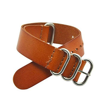 22mm Nato Style Leather Watch Strap Band Bracelet Silver Stainless Steel Buckle (Brown)