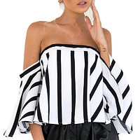 Vertical Striped Slash Neck Womens Summer Top