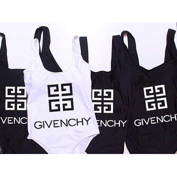 Givenchy Beach Fashion Women Print Vest Style One Piece Bikini Swimsuit Bodysuit