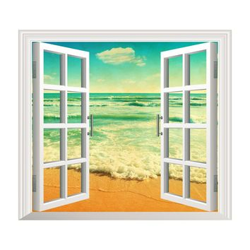 3D Window Ocean Beach Wall Sticker Decals Art stickers