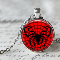 Spiderman Superhero Glass Pendant - Charm Photo Picture Glass Necklace Cartoon  Super Hero (spiderman1)
