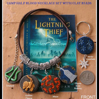 Camp Half Blood Necklace Set with Double-sided Clay Beads Collectible Wearable Handmade Unisex