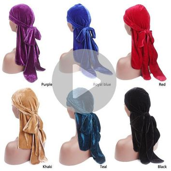 2018 New Style Luxury women's Velvet Durags Bandana Turban Hat Solid knot long tail Headscarf Unisex Pirate Hat Headwrap