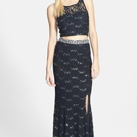 Junior Women's Speechless Glitter Lace Embellished Two Piece Dress