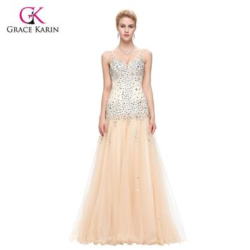 Evening Dress 2017 Grace Karin V Neck Tulle Ball Gown Apricot Sleeveless Rhinestones Beaded Prom Evening Dresses Robe De Soiree