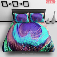 Peacock Feathers Galaxy Bedding Sets Home Gift Home & Living Wedding Gifts Wedding Idea Twin Full Queen King Quilt Cover Duvet Cover Flat Sheet Pillowcase Pillow Cover 071