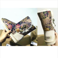 UGG:: bow leather boots boots in tube Print floral boots