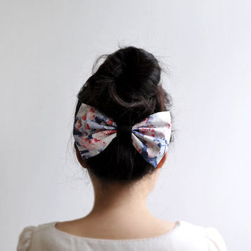 Betty Bow - big bow hair clip, red and blue flower pattern headpiece