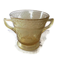 Depression Glass Patrician Amber Sugar Bowl 1930's