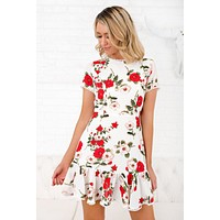 Fire In Me Floral Print Dress (Ivory)