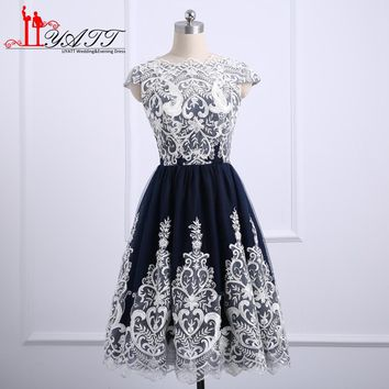 New Design 2018 Prom Dresses Short Party Dress White Lace Navy Tulle Girls Homecoming Gown Custom Made