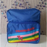 Retro 1980s Carry On luggage Trafalgar Statement Bag Vintage Gym 80s Festival Tote Overnight Rave Bag Backpack Suitcase Blue Rainbow Brite