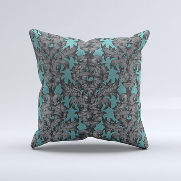 Teal Leaf Foliage Pattern ink-Fuzed Decorative Throw Pillow