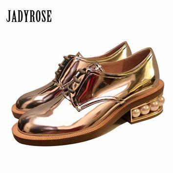 Jady Rose Fashion Women Flat Shoes Platform Pear Heel Lace Up Oxford Shoes Creepers Female Casual Loafers Flats Ladies Shoes