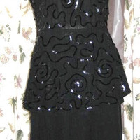 Vintage 40s Black Rayon Crepe Dress with Sequins and Peplum