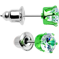 5mm Neon Green Round Clear CZ Stud Earrings | Body Candy Body Jewelry