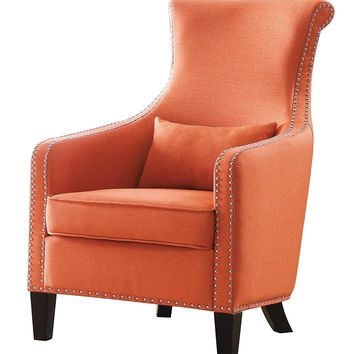Arles collection orange woven fabric upholstered rolled back accent chair with nail head trim