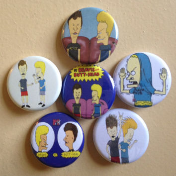 "Beavis And Butthead pin back buttons 1.25"" set of 6"