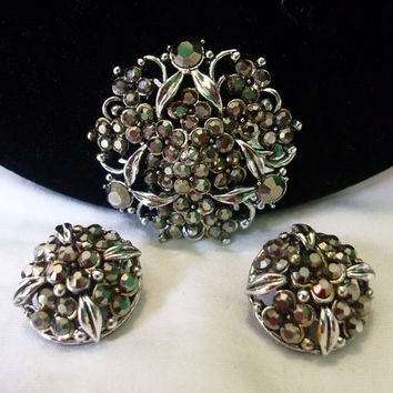 Hollycraft 1954 Victorian Revival Metallic Gray Marcasite Silver Plate Flower Brooch Earrings Demi Set