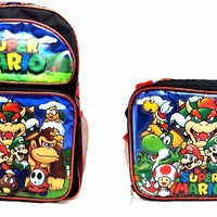 "Super Mario 3D Brother Team 12"" Small Backpack Kid Boys School Plus Lunch Bag"