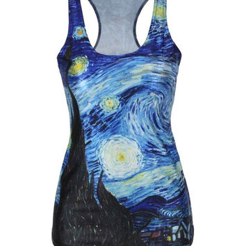Vincent Van Gogh Print Tank Top Workout Tank Tops Yoga Tank-Custom Van Gogh Painting Shirt - Yoga Clothes = 1933081668