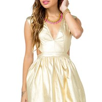 Shimmer Cut-Out Flare Dress
