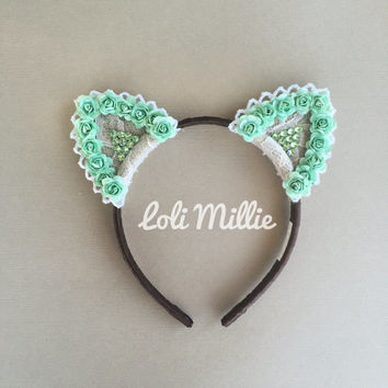 Mint Glimmer - Swarovski Crystal Cat Ears Headband - Kawaii Floral Ears Nekomimi EDC Rave