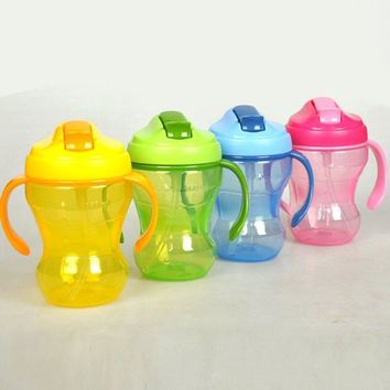 Baby Kids Drinking Bottles Double Handle Plastic Water Sippy Cups Straw Bottles