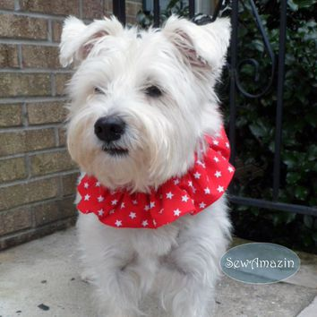 Red and White Stars Patriotic Dog Scrunchie Neck Ruffle, 8 inch neck