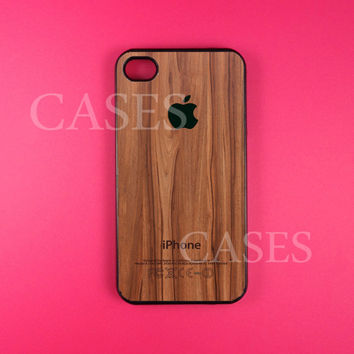 Iphone 4 Case, Dark Wood Iphone 4s Case Cover, Wood print Iphone Cases, Snap On Rubber or Hard Plastic Case