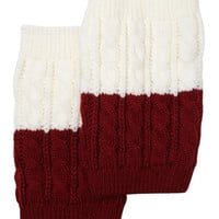Women's Two Tone Ivory / Burgundy REVERSIBLE BOOT CUFF - Cable Knit Boot Sock Topper, Knitted Boot Cuffs