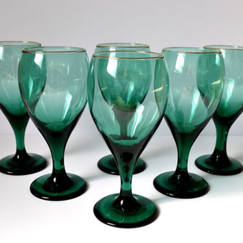 Vintage Wine Glasses, Teal Green Teardrop Glass Goblets, Gold Rim, Set of 6, 12 oz Goblets, Retro Bar Glasses, Emerald Green Barware