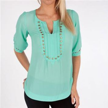 Angie Juniors Woven Top with Studded Neckline at Dry Goods