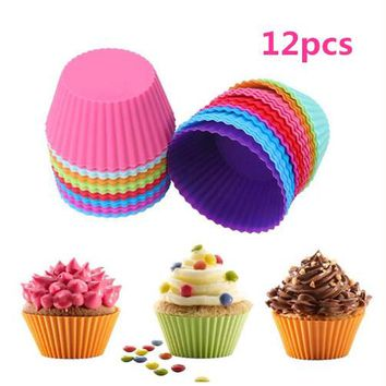 12pcs Round Shape Muffin Cupcake Mold Colorful Silicone Muffin Cases Cake Cupcake Liner Baking Mold Baking Dishes Pan Form