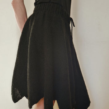 Hand Knit Skirt Black Skirt Panel / Paneled Skirt Full Midi Skirt Circle Skirt Geometric Modern Minimalist Skirt Fairy Skirt Womens Clothing
