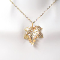 Beautiful, Gold filled, Sterling silver, Chain, Leaf, Gold, Silver, Necklace, Big, Leaf, Pendant, Modern, Dainty, Friends, Lovers, Gift